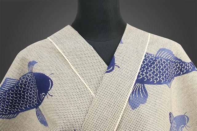 浜松注染 花水木物語 浴衣 紺 鯉 オーダー仕立て付き