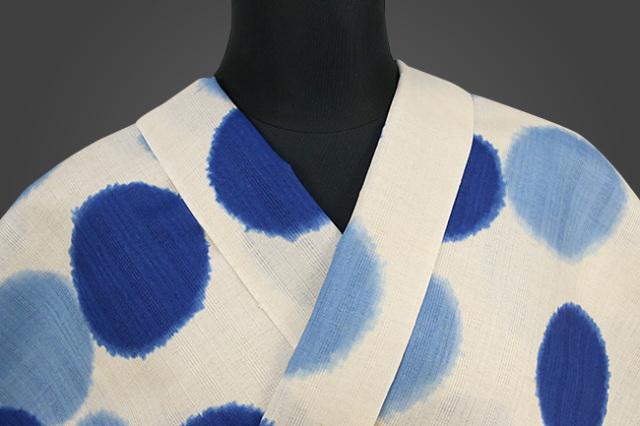 IKS浴衣(ゆかた) オーダー仕立て付き 綿麻 藍モダン 白×水色 女性にオススメ