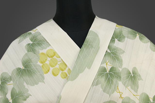 IKS浴衣(ゆかた) オーダー仕立て付き 花みやび 白×薄緑 女性にオススメ