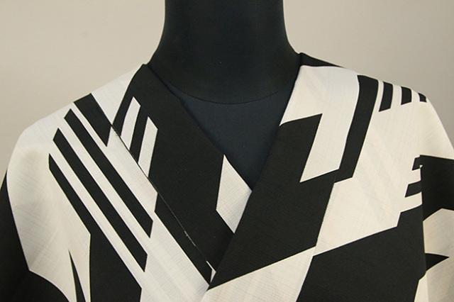 JUNKO KOSHINO浴衣(ゆかた) オーダー仕立て付き セオα 隼 白×黒