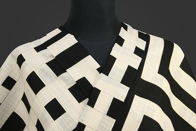 誉田屋源兵衛 綿麻浴衣(ゆかた) オーダー仕立て付き 喜左エ門 白×黒 ◆男女兼用◆