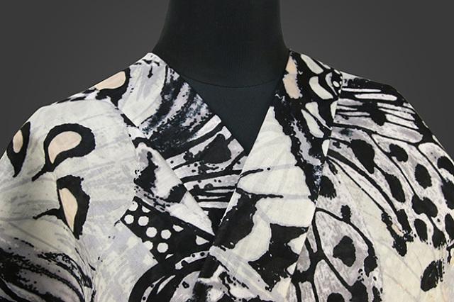 誉田屋源兵衛 浴衣(ゆかた) オーダー仕立て付き パピヨンラプソディ 白×黒 ◆男女兼用◆