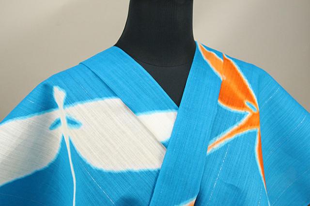 誉田屋源兵衛 浴衣(ゆかた) オーダー仕立て付き 蜻蛉 青 ◆男女兼用◆