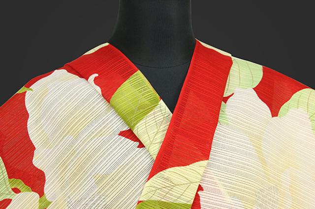 岡重 浴衣(ゆかた) オーダー仕立て付き 綿 絽 大輪の花 赤 女性にオススメ