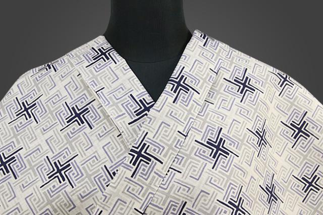 龍村美術 浴衣(ゆかた) オーダー仕立て付き 四角 リング 灰 男女兼用