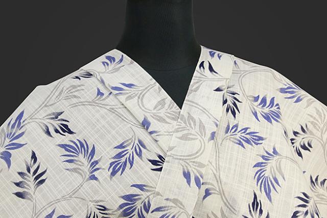 龍村美術 浴衣(ゆかた) オーダー仕立て付き 葉柄 白 ◆女性におすすめ◆