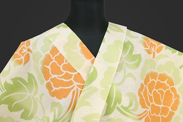 龍村美術 浴衣(ゆかた) オーダー仕立て付き 草花 白 橙 ◆女性におすすめ◆