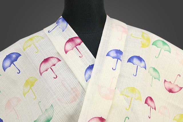 ViVi浴衣(ゆかた)  浴衣(ゆかた) オーダー仕立て付き 傘 カラフル ◆女性にオススメ◆