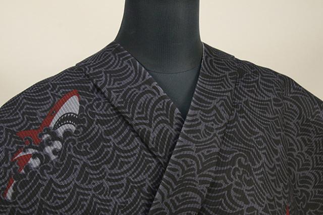 ViVi浴衣(ゆかた)  浴衣(ゆかた) オーダー仕立て付き 赤 鮫 ◆男女兼用◆