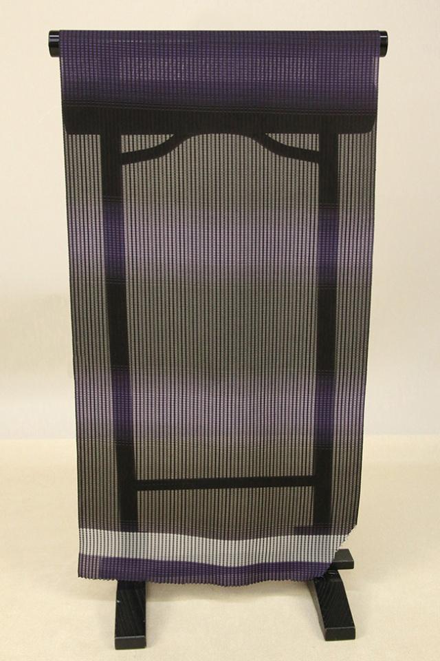 【AB反】シースルーコート 羽織 正絹 はっ水 紫 横ぼかし オーダー仕立て付き 363
