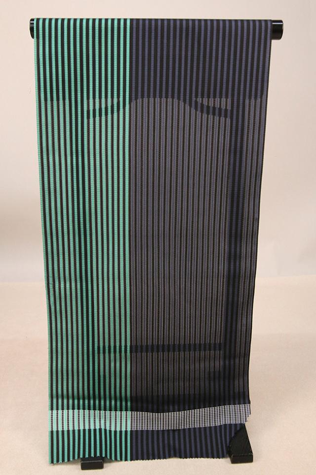 【AB反】シースルーコート 羽織 正絹 はっ水 青緑×紺 ストライプ オーダー仕立て付き 360