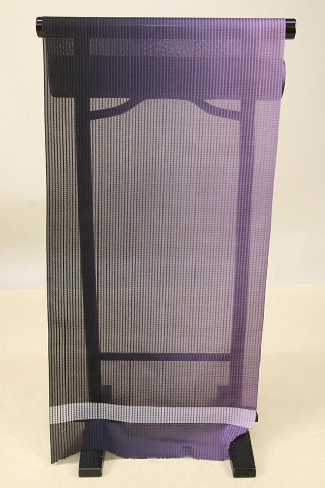 【AB反】シースルーコート 羽織 正絹 はっ水 黒×紫 グラデーション オーダー仕立て付き 359/401
