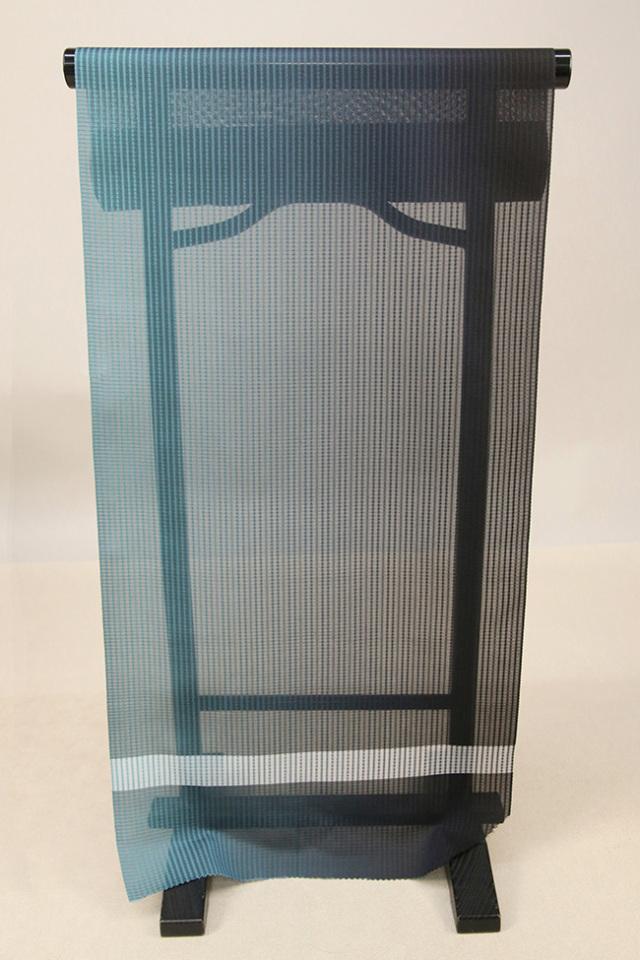 【AB反】シースルーコート 羽織 正絹 はっ水 青緑×黒 グラデーション オーダー仕立て付き 409