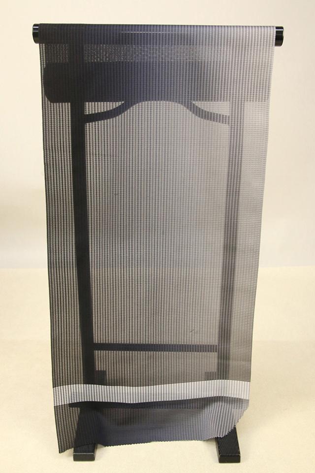 【AB反】シースルーコート 羽織 正絹 はっ水 黒×灰 グラデーション オーダー仕立て付き 405