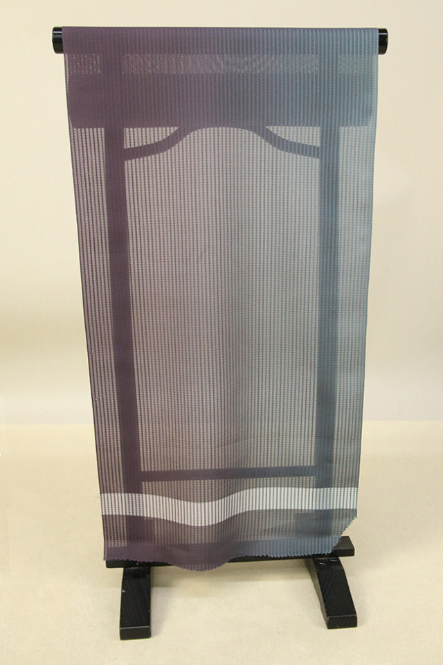 【AB反】シースルーコート 羽織 正絹 はっ水 紫×青灰 グラデーション オーダー仕立て付き 394