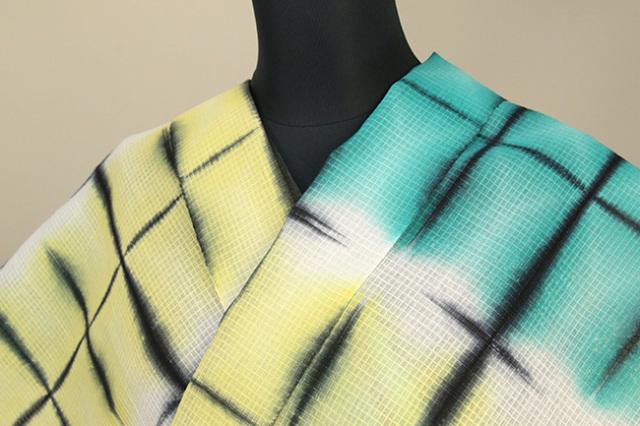 絞染浴衣(ゆかた) 綿麻紅梅 オーダー仕立て付き 藤井絞 カレイドスコープ 黄×青緑×白