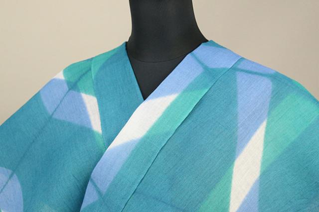 絞染浴衣(ゆかた) 綿麻浴衣  オーダー仕立て付き 藤井絞 板締め 青緑×白