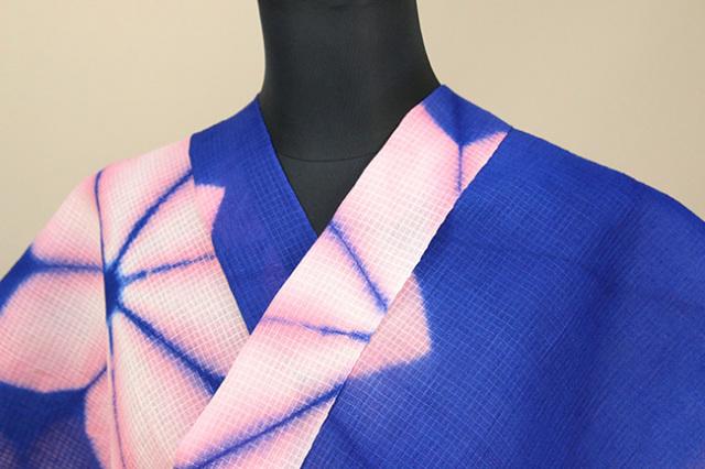 絞染浴衣(ゆかた) 綿麻紅梅 オーダー仕立て付き 藤井絞 花ぼかし 青×ピンク