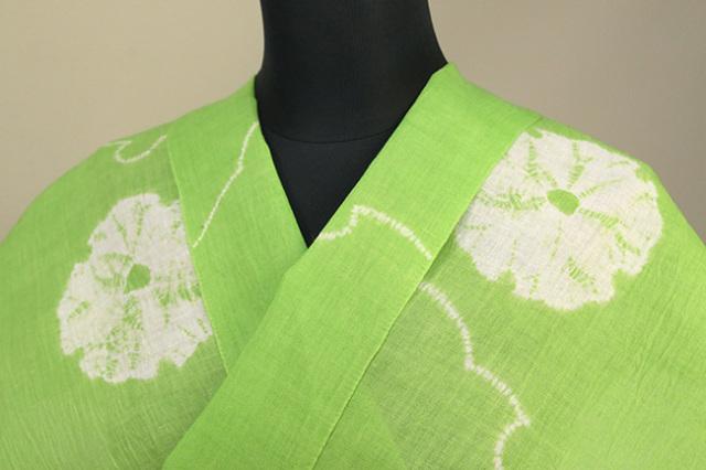 絞染浴衣(ゆかた) 綿麻浴衣  オーダー仕立て付き 藤井絞 線に雪輪 黄緑×白