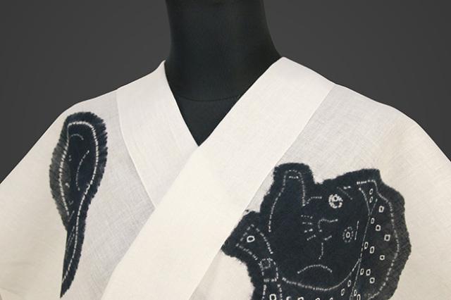 絞染浴衣(ゆかた) 綿麻浴衣  オーダー仕立て付き 藤井絞 お面 白×藍色
