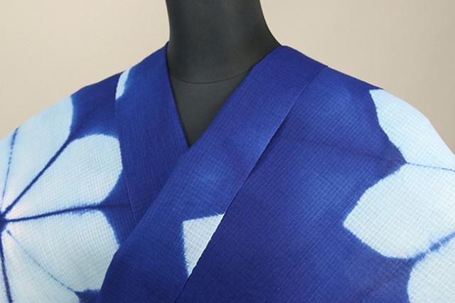 絞染浴衣(ゆかた) 綿麻紅梅 オーダー仕立て付き 藤井絞 花ぼかし 青×水色