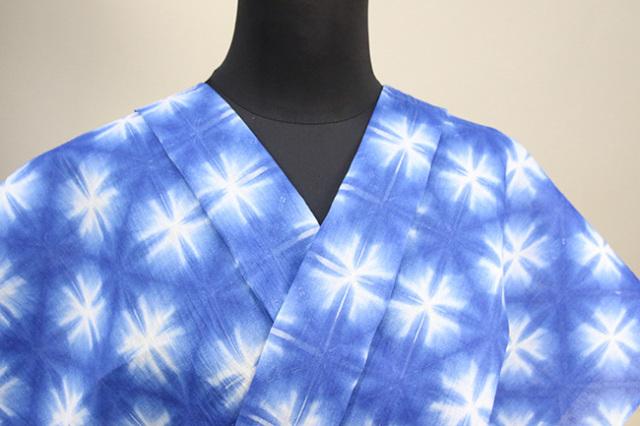 絞染浴衣(ゆかた) 綿麻浴衣  オーダー仕立て付き 藤井絞 雪花絞 青白