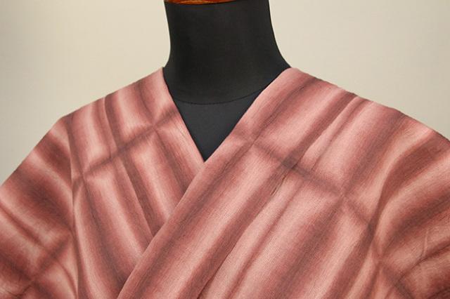 絞染浴衣(ゆかた) 綿麻浴衣  オーダー仕立て付き 藤井絞 板締め 赤茶