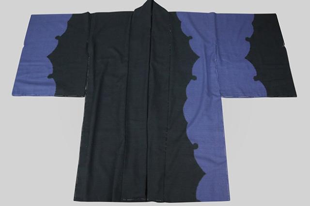 京都 藤井絞 はごろ木綿 羽織生地 雪輪絞 黒×青 オーダー仕立て付き