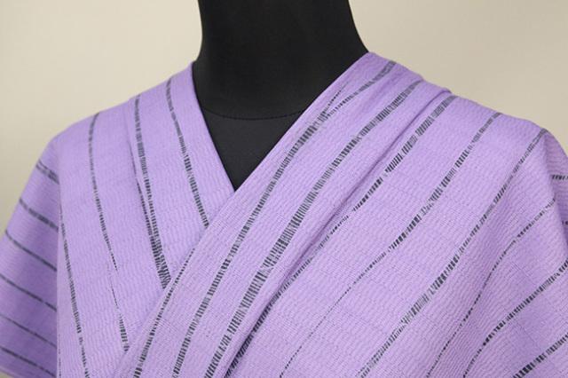 京都 藤井絞 はごろ木綿 オーダー仕立て付き 洗える普段着着物 竜巻絞り 紫