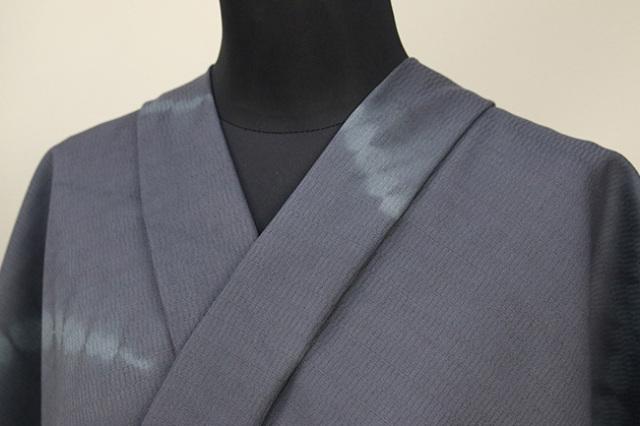 京都 藤井絞 はごろ木綿 オーダー仕立て付き 洗える普段着着物 ほうき星 灰