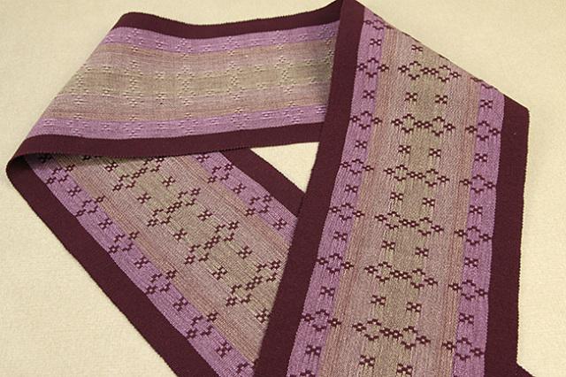 首里 花織 半幅帯 沖縄 綿 紫