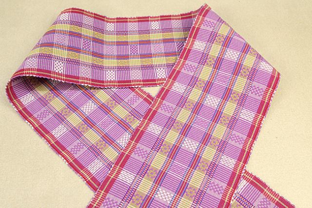首里 花織 半幅帯 沖縄 綿 赤×紫