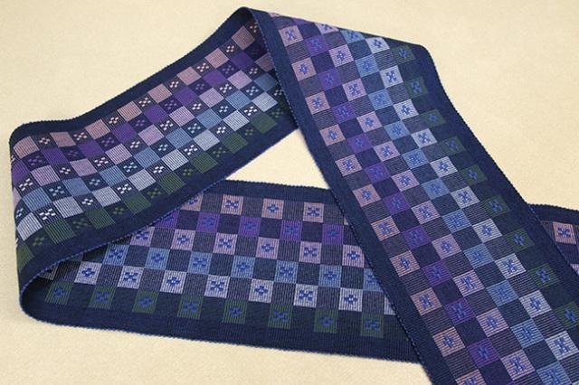 首里 花織 半幅帯 沖縄 綿 青×紫