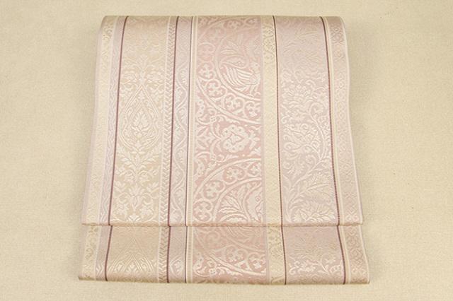 西村織物 博多織 至宝間道 双鳥円環文 本袋帯 正絹 薄桃 お仕立て付き