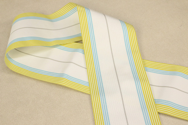 【あづまやオリジナル】 西村織物 麻絹 博多織 半幅帯 かがり仕立付 帯 黄×水色×白