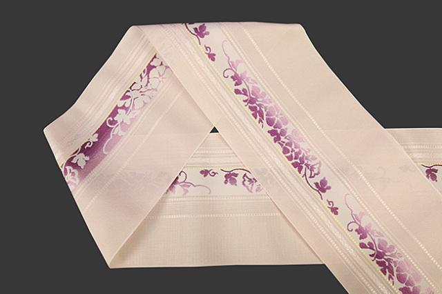 本場筑前博多織 4.3寸紗織 ゆかた帯 正絹半幅帯 朝顔 かがり仕立付 薄ピンク×紫