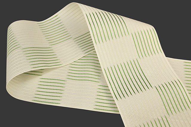 西村織物 悦 博多織 正絹半幅帯 粗紗 かがり仕立付 帯 ストライプ市松 絹100% 緑