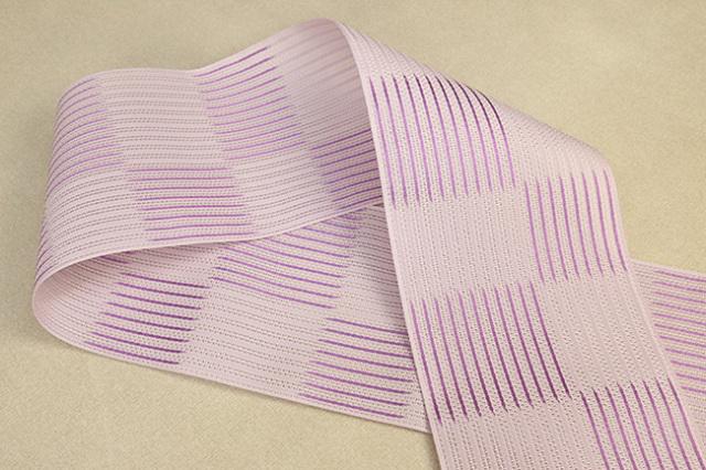 西村織物 悦 博多織 正絹半幅帯 粗紗 かがり仕立付 帯 ストライプ 絹100% 紫