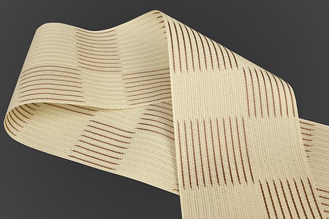 西村織物 悦 博多織 正絹半幅帯 粗紗 かがり仕立付 帯 ストライプ市松 絹100% 茶