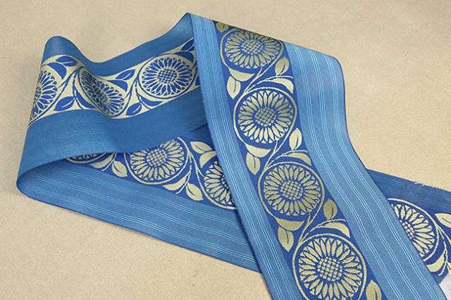 西村織物 悦 博多織 正絹半幅帯 紗 かがり仕立付 帯 花 絹100% 青