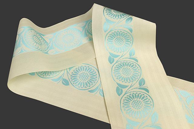西村織物 悦 博多織 正絹半幅帯 紗 かがり仕立付 帯 花 絹100% アイボリー