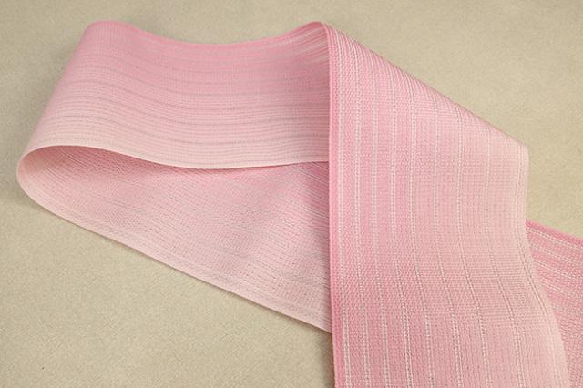 西村織物 悦 博多織 正絹半幅帯 粗紗 かがり仕立付 帯 グラデーション 絹100% ピンク