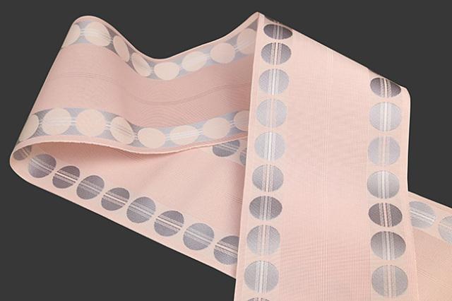 西村織物 悦 博多織 正絹半幅帯 紗 かがり仕立付 帯 ドット 絹100% ピンク
