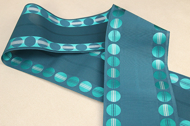 西村織物 悦 博多織 正絹半幅帯 紗 かがり仕立付 帯 ドット 絹100% 青緑