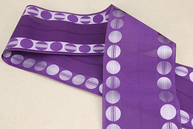 西村織物 悦 博多織 正絹半幅帯 紗 かがり仕立付 帯 ドット 絹100% 紫