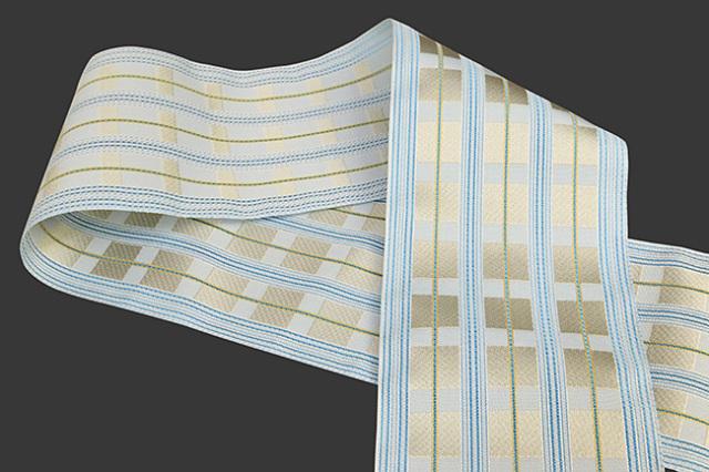 西村織物 悦 博多織 正絹半幅帯 粗紗 かがり仕立付 帯 格子 絹100% 水色