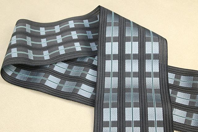 西村織物 悦 博多織 正絹半幅帯 粗紗 かがり仕立付 帯 格子 絹100% 濃灰