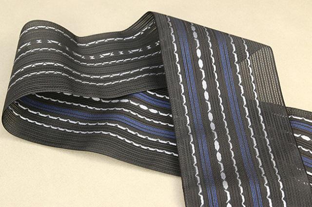 西村織物 悦 博多織 正絹半幅帯 粗紗 かがり仕立付 帯 ちょき舟 絹100% 黒