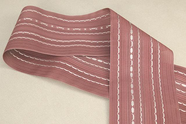 西村織物 悦 博多織 正絹半幅帯 粗紗 かがり仕立付 帯 ちょき舟 絹100% 赤