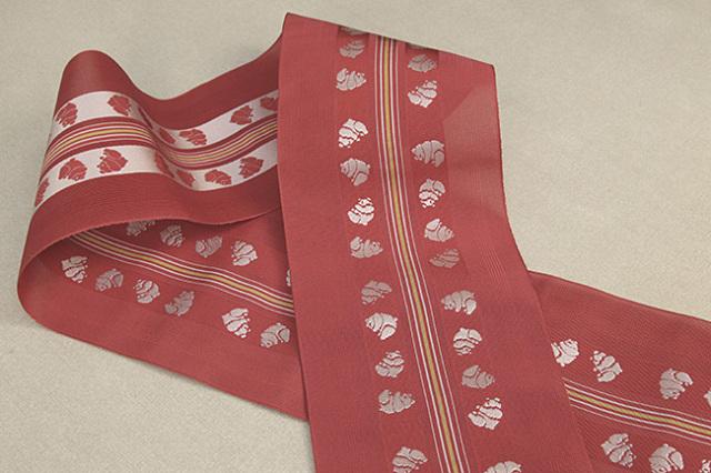 西村織物 悦 博多織 正絹半幅帯 紗 かがり仕立付 帯 パンダ 絹100% 赤